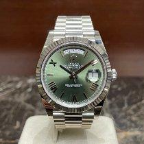 Rolex Day-Date 40 usados 40mm Verde Fecha Día de la semana Oro blanco