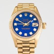 Rolex Żółte złoto Automatyczny Niebieski Bez cyfr 26mm używany Lady-Datejust