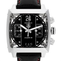 TAG Heuer Steel Automatic Black 40.5mm pre-owned Monaco Calibre 36