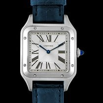Cartier Steel Quartz Silver 43.5mm new Santos Dumont