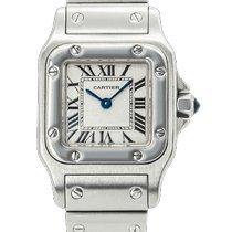 Cartier Santos Galbée Stahl 23mm Weiß Römisch
