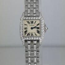 Cartier Santos Demoiselle Белое золото 20mm Белый Римские