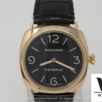 Panerai Gelbgold Handaufzug Schwarz Arabisch 45mm gebraucht Radiomir