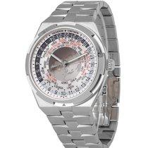 Vacheron Constantin Overseas World Time pre-owned 43.5mm Silver GMT Fold clasp, hidden