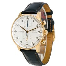 IWC Rose gold Automatic Silver Arabic numerals 41mm pre-owned Portuguese Chronograph