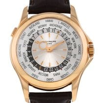 Patek Philippe World Time occasion 39mm Argent GMT Cuir