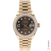 Rolex Ouro rosa Automático Castanho Romanos 28mm novo Lady-Datejust