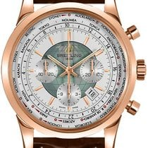 Breitling Transocean Chronograph Unitime Rose gold 46mm White No numerals