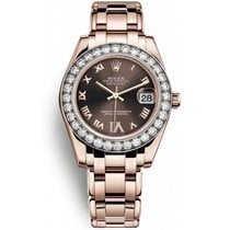 Rolex Pearlmaster Rose gold 34mm Brown Roman numerals