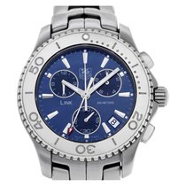 TAG Heuer Link Quartz pre-owned 41mm Blue Chronograph Date Steel