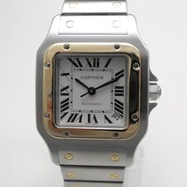 Cartier Santos Galbée gebraucht 32mm Silber Datum Stahl