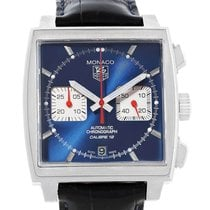 TAG Heuer Monaco Calibre 12 pre-owned 39mm Blue Chronograph Date Leather