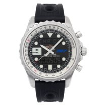Breitling Chronospace pre-owned 48mm Blue Chronograph GMT Rubber