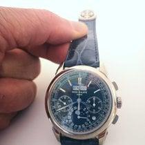 Patek Philippe Perpetual Calendar Chronograph White gold 41mm Blue No numerals