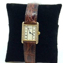 Cartier Tank Vermeil pre-owned 24mm White Leather