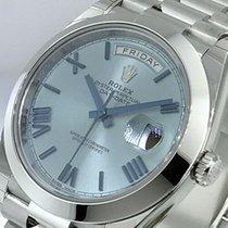 Rolex Day-Date 40 Platine 40mm Bleu Romains