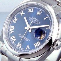 Rolex Datejust Stahl 36mm Blau Römisch