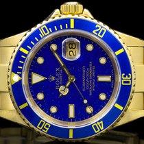 Rolex Submariner Date Zuto zlato 40mm Plav-modar Bez brojeva