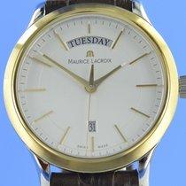 Maurice Lacroix Les Classiques Date gebraucht 38mm Silber Datum Wochentagsanzeige Leder