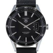 TAG Heuer Carrera Calibre 5 tweedehands 40mm Zwart Chronograaf Datum Leer