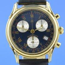 Maurice Lacroix Les Classiques Chronographe gebraucht 37mm Blau Chronograph Datum Leder