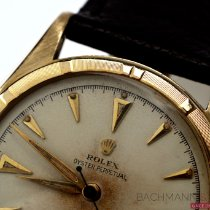 Rolex Yellow gold Automatic Silver No numerals 34mm pre-owned Bubble Back