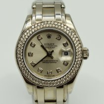 Rolex Pearlmaster pre-owned 29mm Silver Date White gold