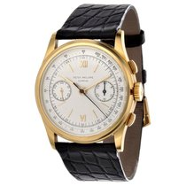Patek Philippe Chronograph pre-owned 36.5mm Silver Chronograph Leather