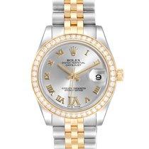 Rolex Lady-Datejust Zlato/Zeljezo 31mm Srebro Rimski brojevi