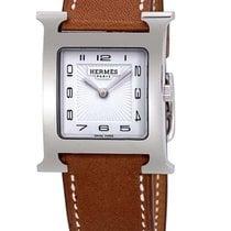 Hermès Heure H Stal 30.5mm Biały Arabskie