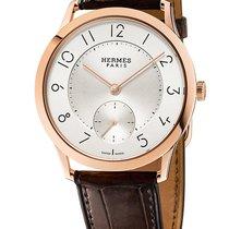 Hermès Slim d'Hermès Złoto różowe 39.5mm Srebrny Arabskie