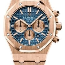 Audemars Piguet Royal Oak Chronograph Pозовое золото 41mm Синий Без цифр