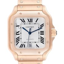 Cartier Rose gold Automatic Silver Roman numerals 39.8mm pre-owned Santos 100