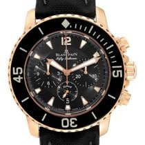 Blancpain Rose gold Automatic Black Arabic numerals 45mm pre-owned Fifty Fathoms