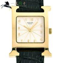 에르메스 옐로우골드 쿼츠 은색 30mm 중고시계 외흐 H