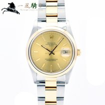 Rolex Oyster Perpetual Date Stahl 34mm Champagnerfarben