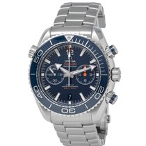 Omega Seamaster Planet Ocean Chronograph pre-owned 45.5mm Blue Chronograph Date Steel