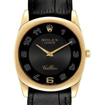 Rolex Cellini Danaos Geelgoud 34mm Zwart Arabisch