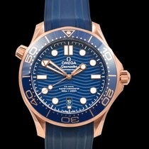 Omega Rose gold Automatic Blue 42mm new Seamaster Diver 300 M