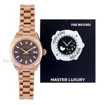 Rolex Lady-Datejust Oro rosado 28mm Marrón Sin cifras