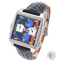 TAG Heuer Monaco Calibre 11 brukt 39mm Blå Kronograf Dato Okseskinn