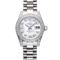 Rolex White gold Automatic White 26mm pre-owned Lady-Datejust