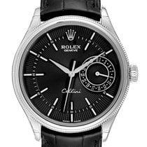 Rolex Cellini Date Bílé zlato 39mm Černá