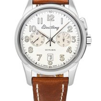 Breitling Transocean Chronograph 1915 Staal 43mm Zilver