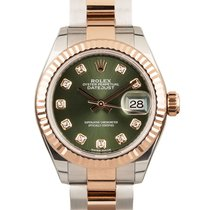 Rolex Lady-Datejust pre-owned 28mm Green Date Gold/Steel