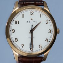 Zenith Captain Central Second pre-owned 40mm Silver Date Crocodile skin