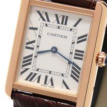 Cartier Red gold Quartz Silver Roman numerals 34.8mm new Tank Solo
