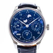 IWC Portuguese Perpetual Calendar occasion 44mm Bleu Phase lunaire Calendrier perpétuel Cuir