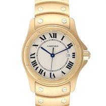 Cartier Santos (submodel) подержанные 33mm Cеребро Дата Желтое золото