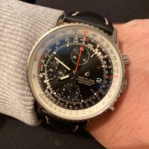 Breitling Navitimer Heritage gebraucht 41mm Schwarz Chronograph Datum Leder